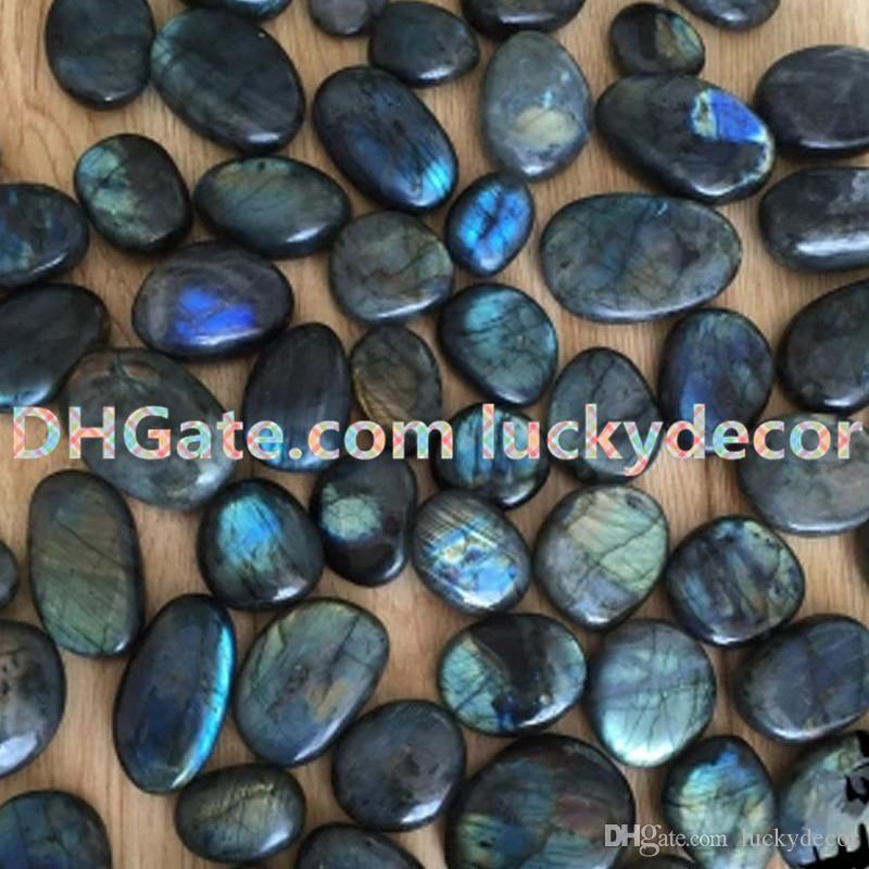 10Pcs Random Size Irregular Polished Therapy Energy Iridescent Natural Labradorite Palm Stones Pebble Gray Moonstone Blue Flash Worry Stone