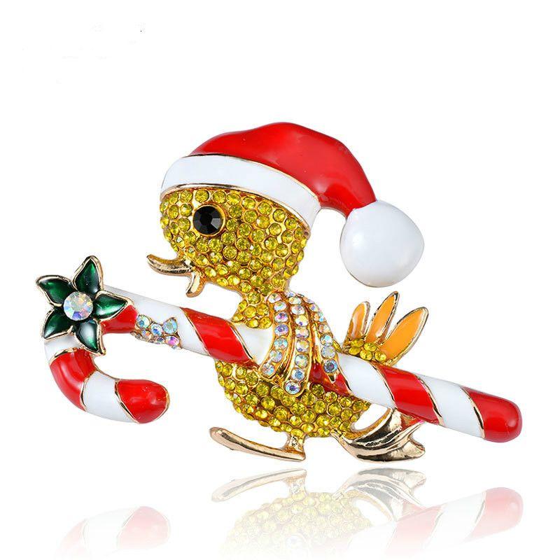 Yeni Noel karikatür ördek yavrusu broş hayvan kristal broş pin küçük sarı ördek takı giyim yüz aksesuarları hediye
