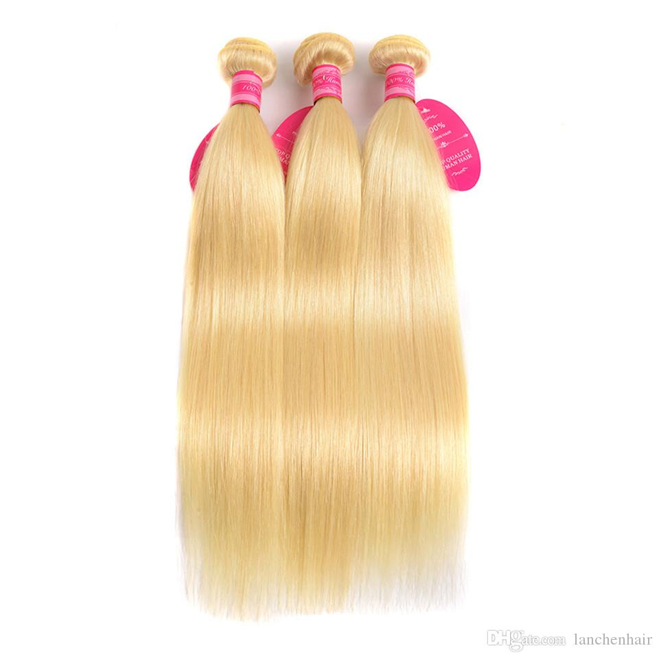 Perstar Brazilian Straight Hair Bundles Weave 1 PC Blonde Full 613 Color Remy 100% Human Hair Extensions 10-26Inch