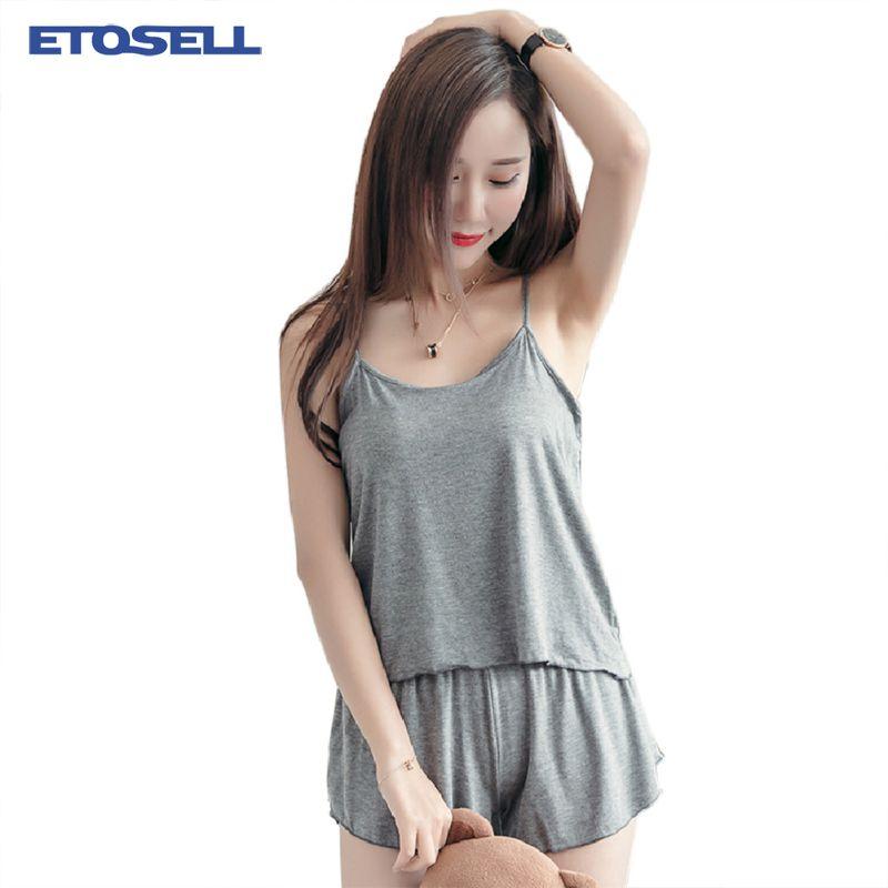 Женская твердые удобные пижамы набор модальных ткань Майки + эластичный пояс шорты Супер мягкий женский летний дом пижамы наборы XL-XXXL