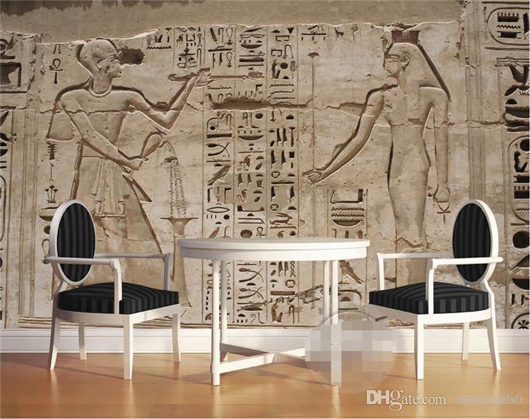 Antecedentes mural hogar del papel pintado Decoración mural de papel Fotografía de reliquias culturales Civilizaciones Egipto Gran cuarto de baño de pared