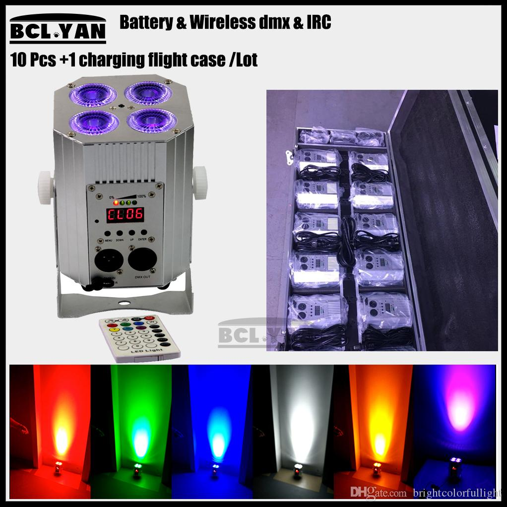 Facotry Direct Sale 4x18W DJ Freedom Par 6in1 RGBWAUV LED Remote DMX Battery Powered wash Uplight Light 10pcs light+ case