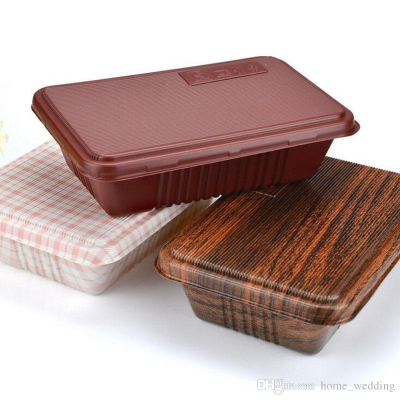 Wholesale 300pcs Creative Wood Grain Design Disposable Food Container Snack Packing Boxes Microwaveable PP Bento Box