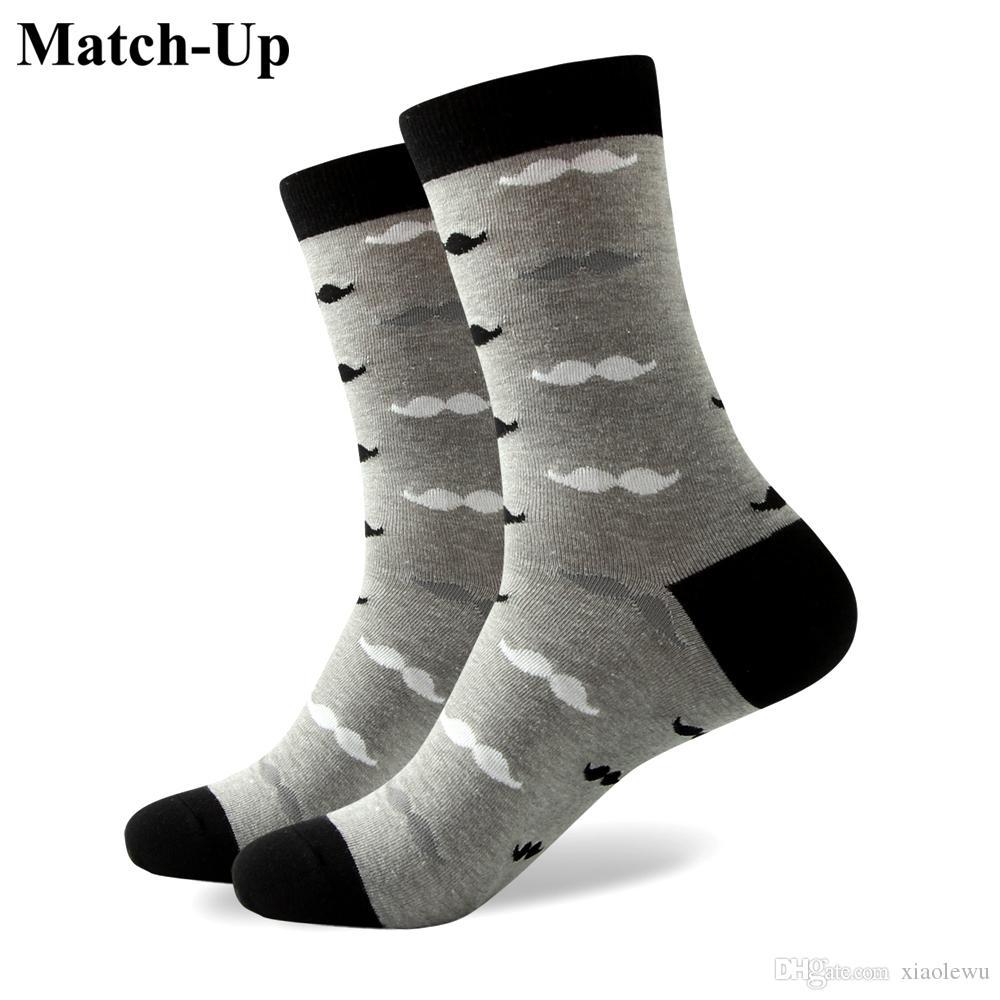 2016 erkek penye pamuk marka erkek çorap, renkli bıyık çorap, ücretsiz kargo, ABD boyutu (7.5-12) 324
