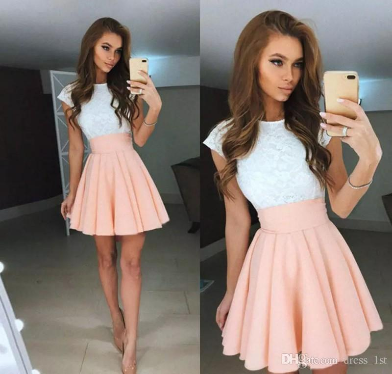 Elegant 2019 Short Prom Dresses Made in China Jewel Neck Capped Sleeves White Lace Top Pink Chiffon Skirt Two Tone Girls Party Dresses