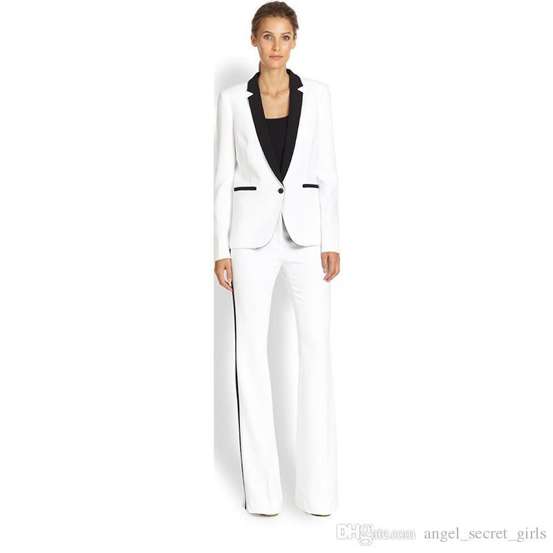 Jaqueta + Calças Terno de Negócio das Mulheres Branco Feminino Escritório Uniforme Ladies Formal Calças 2 Peça Terno Único Breasted Lapela Preta