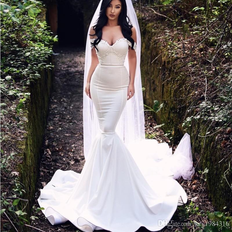 Sexy Dubai Mermaid Wedding Dress Lace Applique Off Shoulder Sleeveless Bridal Dress Glamorous Satin Sweep Train Fashion Saudi Wedding Dress