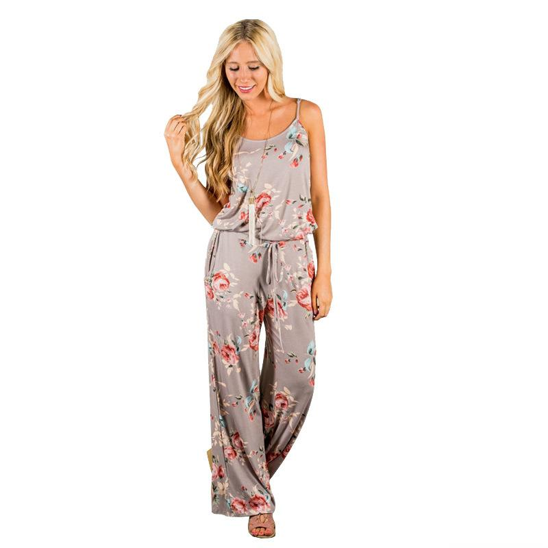 MOBTRS Ladies Jumpsuits Summer Loose Jumpsuit Floral Romper Woman Popular Printing Fashion Full Length Women
