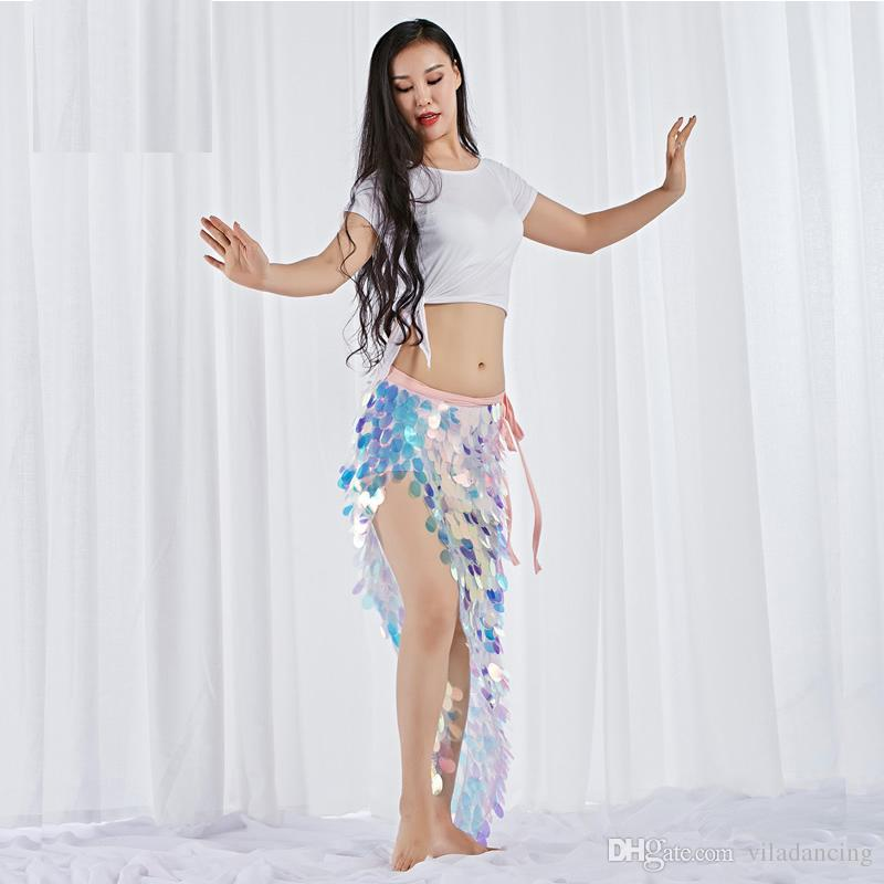 Women Dance Wear Spandex Stretchy Clothes Multicolor Squama Over-Skirt Sequins Hip Scarf Belly Costume Set 2pcs