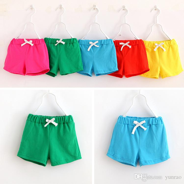 Baby Girl Shorts Candy Color with Drawstring Baby Boy Clothe Girls Sport Panties 9 Colors Kids Clothing 100% cotton