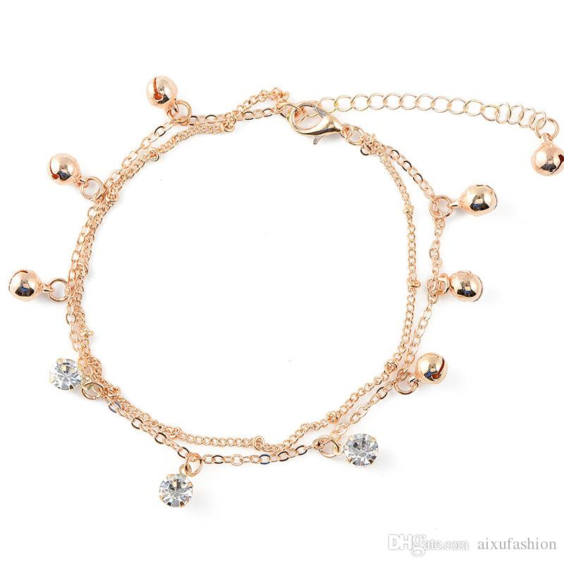 Hot Sale Fashion Two Layers Small Bell Crystal Charm Anklets Chain Beach Foot Bracelet Jewelry For Women Originality Anklet