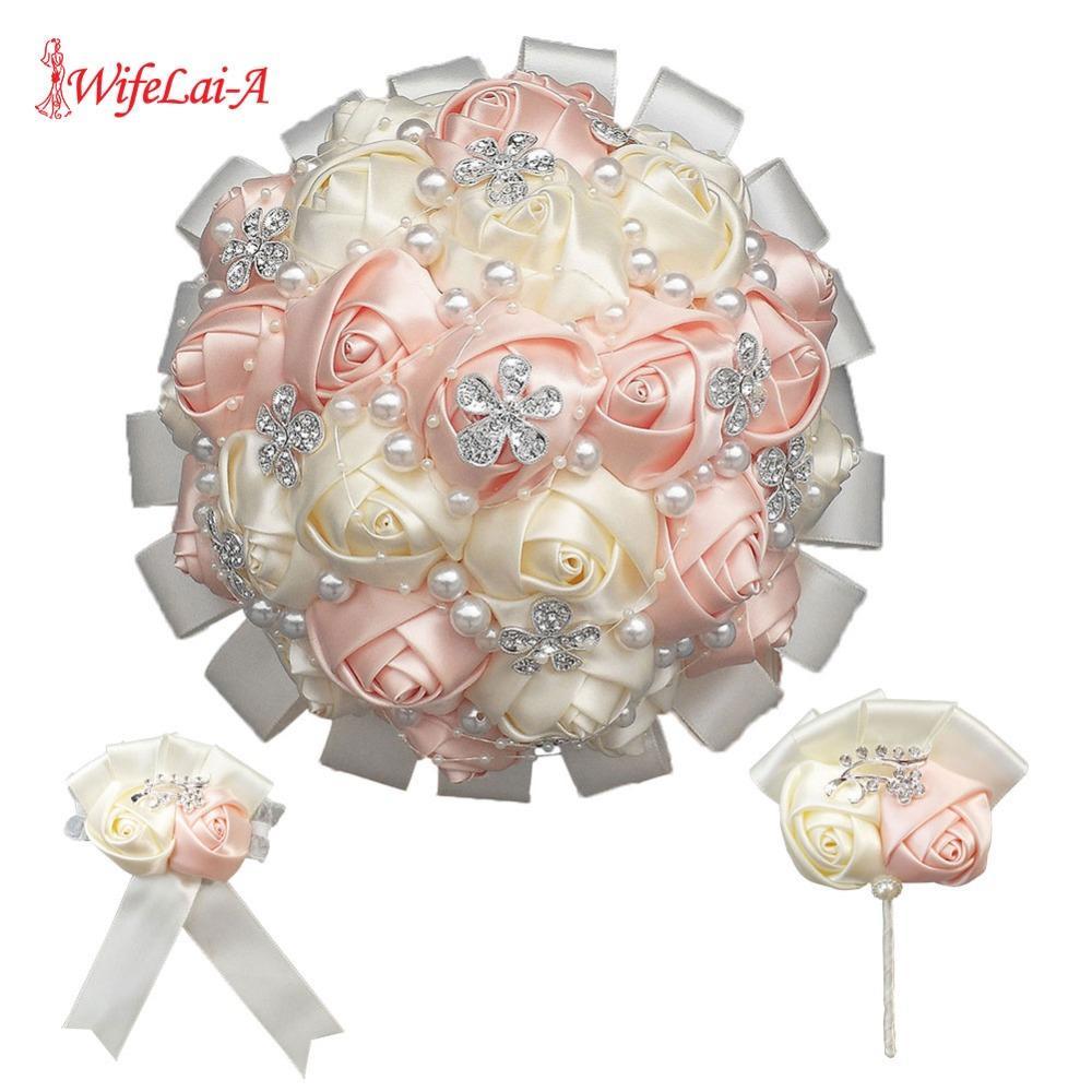 (손목 꽃과 boutonniere) 핑크 밴드 드릴 부케 신부 들러리 자매 손목 꽃 꽃을 들고 웨딩 신부의 꽃다발 세트