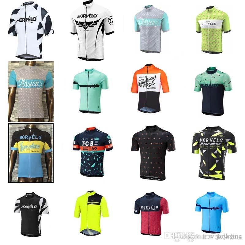 Morvelo team Cycling Short Sleeves jersey hot selling Men's Cycling Shirt Summer Breathable Outdoor sportswear D0921