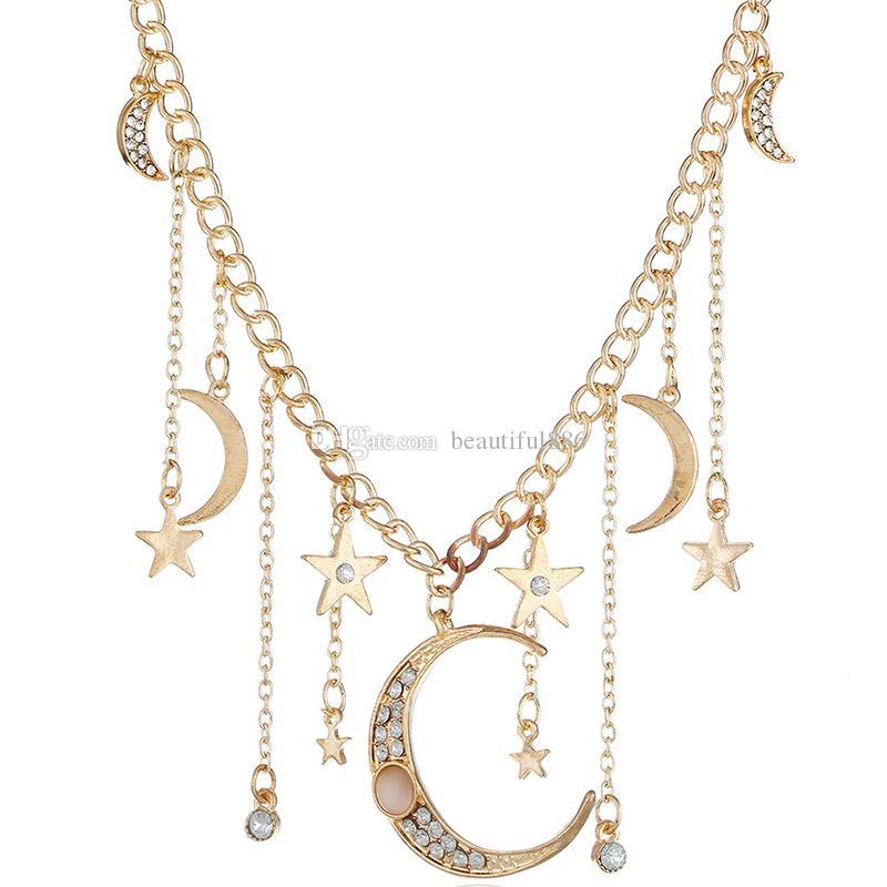 Popolare tendenza classica luna e stella pendente collana per le donne gioielli di moda con confezione regalo per amore