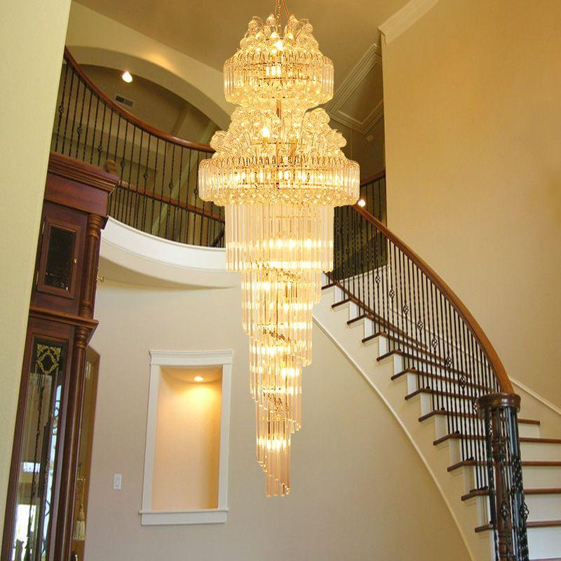 LED Modern Crystal Chandeliers Lights Fixture American Long Golden K9 Chandelier Lamps Hotel Hall Lobby Home LOFT Stair Way Indoor Lighting