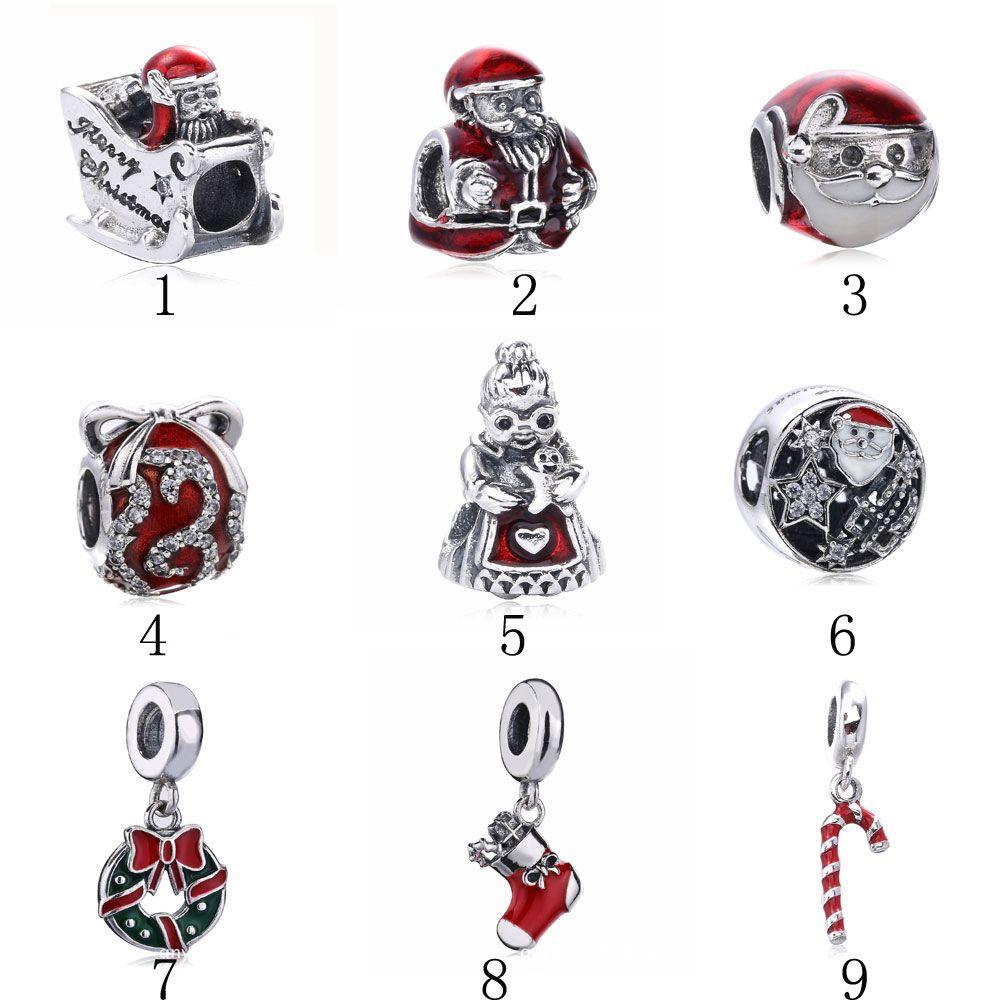 925 de prata esterlina DIY charme de natal de escolha com esmalte vermelho e cz serve pulseiras e colares de jóias pandora europeu