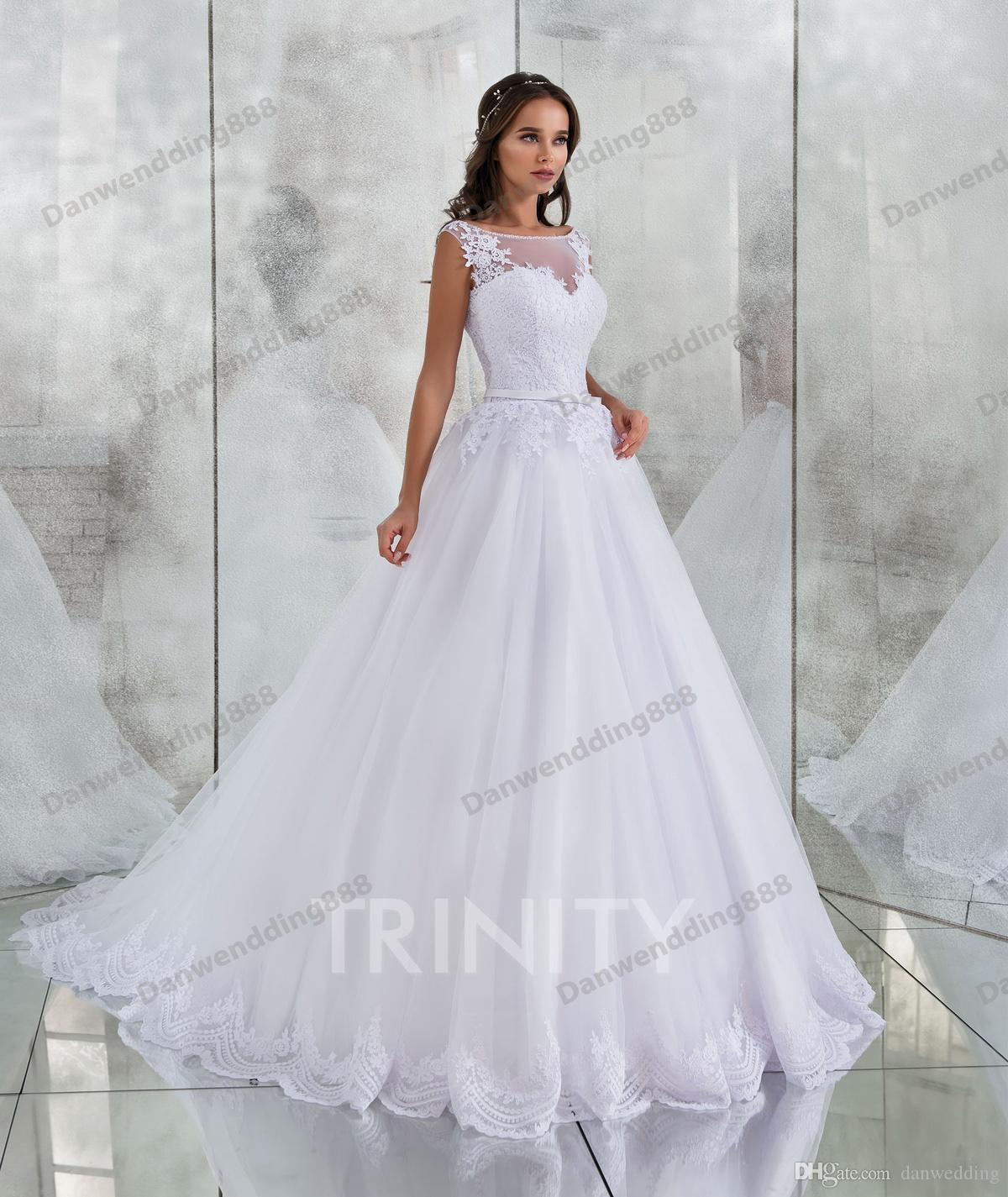 Elegante blanco Scoop Tulle Applique Beads una línea de vestidos de novia nupcial desfile vestidos de boda vestidos de tamaño personalizado 2-16 ZW712174