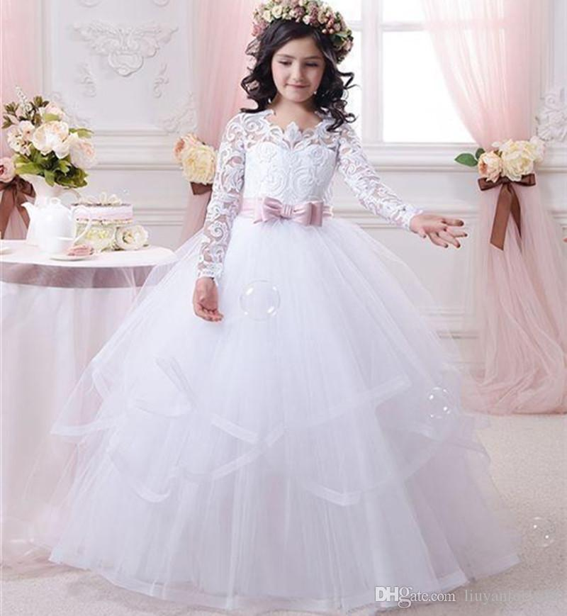 2018 Cheap White Flower Girl Dresses for Weddings Lace Long Sleeve Girls Pageant Dresses First Communion Dress Little Girls Prom Ball Gown55