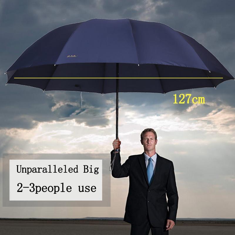 Easyzreal qualidade Homens À Prova de Vento Guarda-chuva Grande Paraguas Masculino Mulheres Chuva de sol auto Corporação Vermelha Guarda-chuvas de Negócios Parapluie Presente