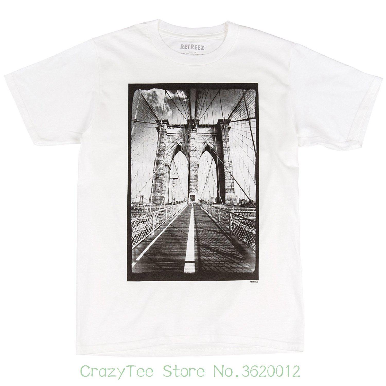 2f816871 High Quality Men T Shirts Retreez Vintage New York City Nyc Brooklyn Bridge  Graphic Printed T-shirt Tee
