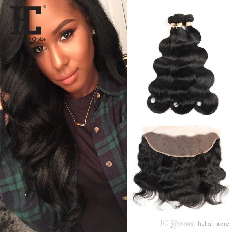 HC Corps Cheveux brésilien Human Wave Bundles cheveux 3 Bundles avec Dentelle Frontal Remy Hair Weave Bundles 13x4 Frontal