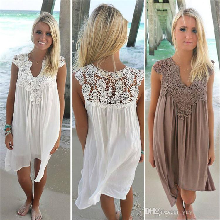 new Women Lace Dress Summer Loose Casual Beach Mini Swing Dress one piece playsuits Chiffon Bikini Cover Up Womens Casual Dresses 180705