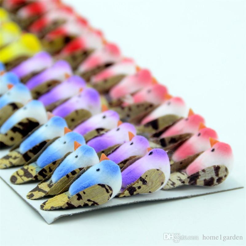 Foam Artificial Colorful Mini Birds Handmade Craft For Home and Garden Decoration Desktop Set 48pcs/Lot Random Mix