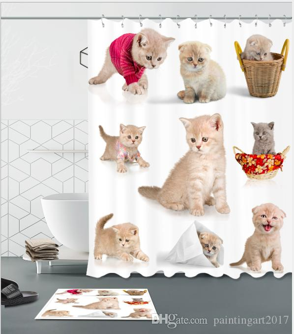 Cute Lover Cat Shower Curtains Bathroom With 12 Hooks Waterproof Fabric Accessories For Home Decor Bath Curtain Gift
