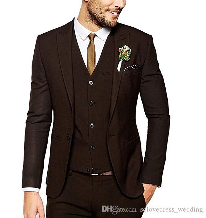 New Fashion Dark Brown Mens Suit Slim Fit Groom Tuxedos One Button Best Man Blazer(Jacket+Pants+Vest)