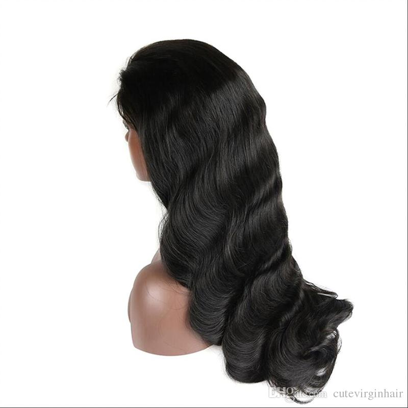 Brazilian Full Lace Human Hair Wigs Body Wave Pre Plucked Lace Wigs For Brazilian Black Women Shipp by ePacket 1B Color