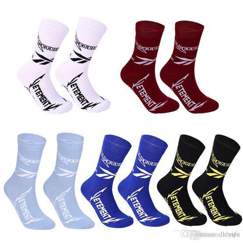 Wholesale-Men's Vetements Men's Black White Stockings Opening Men's Sphort Sockings Letter Print In The Tube Cotton Socks