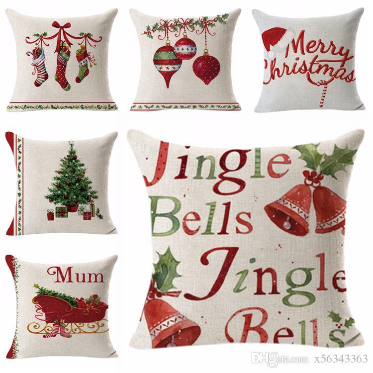 وسادة القضية عيد الميلاد الأيائل القطن الكتان شجرة عيد الميلاد أريكة وسادة CoverBedroom وسادة غطاء ديكور المنزل المخدة