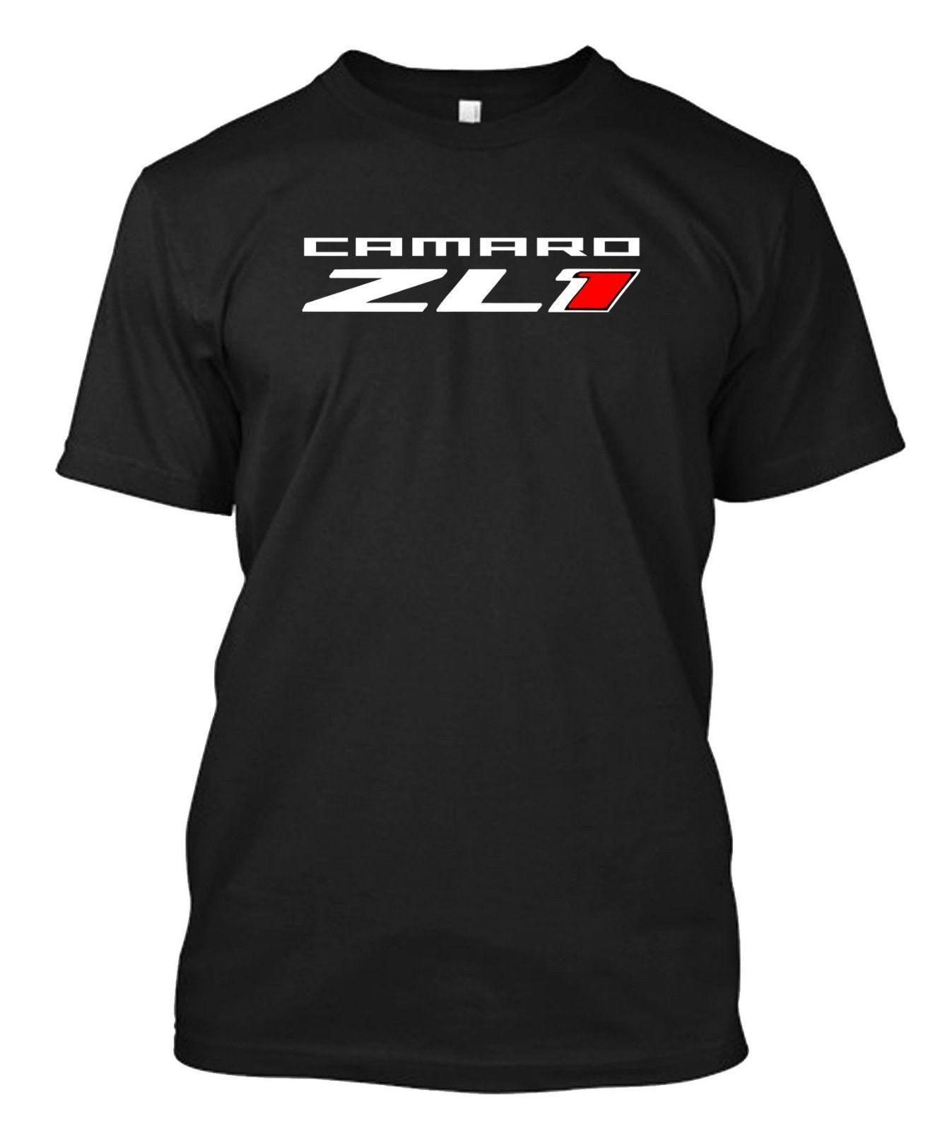 Custom Men/'s Black T-Shirt Tee CORVETTE CAMARO ZL1 Logo Racing