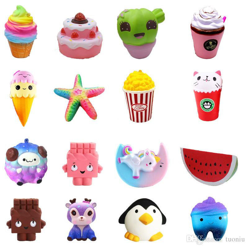 Squishy Strawberry Cake ice cream chocolate squishies Slow Rising 12cm Soft Squeeze Cute Cell Phone Strap gift Stress children toys DS