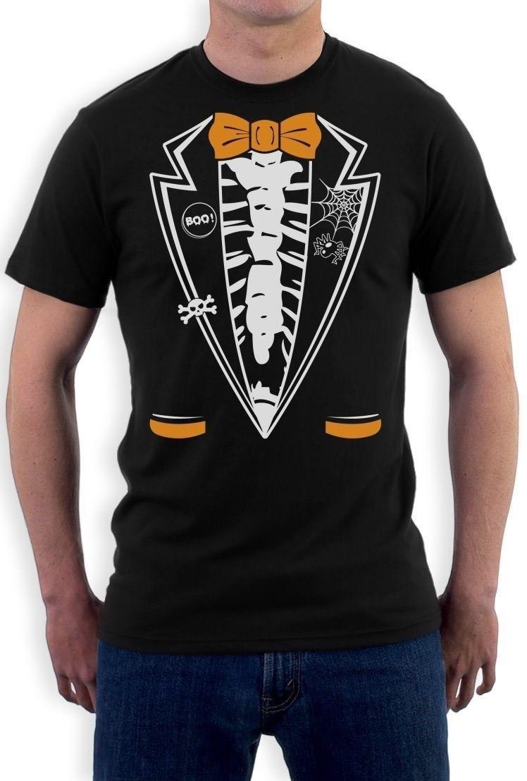 closer at official buy Halloween Skeleton Tuxedo T Shirt Funny Easy Costume Idea Bones Top Tee O  Neck Shirt Plus Size T Shirt Tshirt Casual O Neck Funniest T Shirts Mens ...