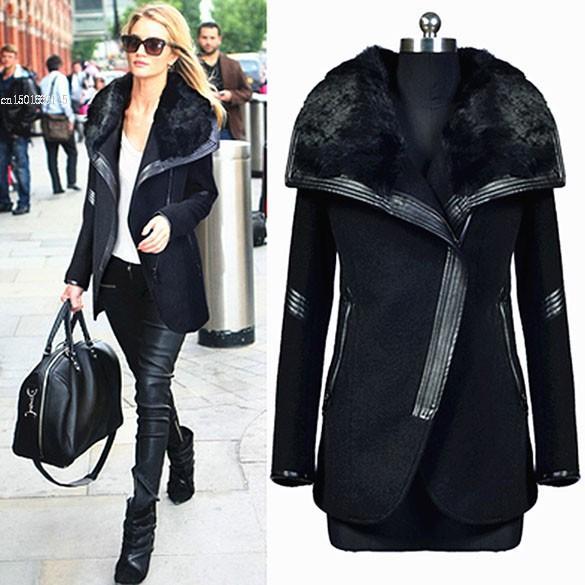 أنيقة أنثى المعطف الموضة في الشتاء المرأة الفراء الأسود الياقة كم طويل زيبر الصوفية في فصل الشتاء معاطف طويلة للنساء