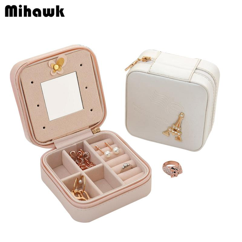 Mihawk Women's Earring Jewelry Case With Makeup Mirror Lady's Necklace Ring Organizer Box For Women Travel Cosmetic Bag Accessory Supplies