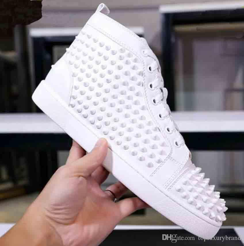 Top designer luxe chaussures bas rouge hommes unisexes femmes chaussures bas talons rouges Mode Spikes Clous Spikes Flats Sneakers chaussures bas rouge