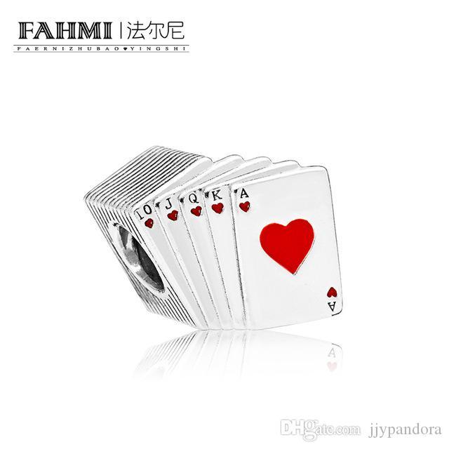FAHMI 100% 925 Sterling Silver 1:1 Original PLAYING CARDS CHARM 797195EN09 Beaded Fashion Women's Wedding Jewelry
