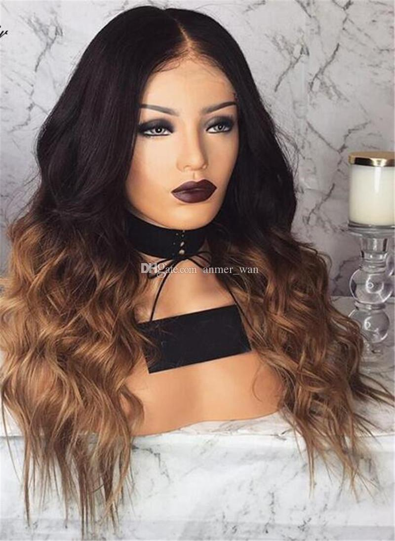 Pre Plucked Full Lace Human Hair Wigs With Baby Hair130% Brazilian Remy Hair Ombre Lace Wigs Bleached Knots Women Wigs