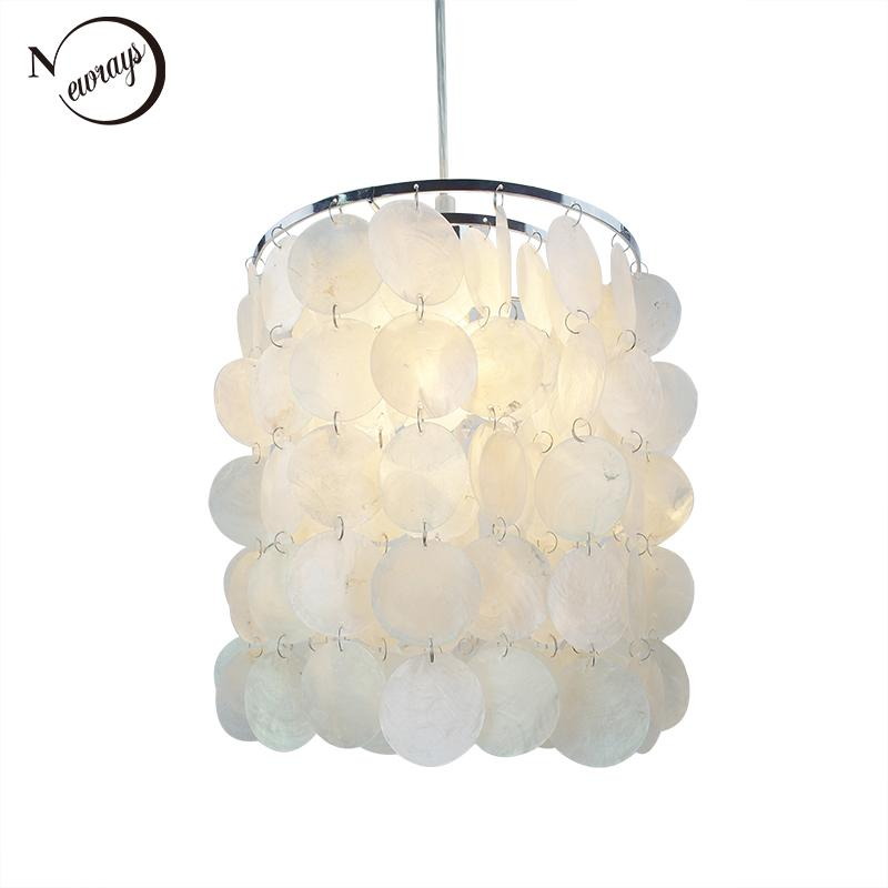 cheap for discount 9066a f7950 Loft Modern White Natural Seashell Chandelier Ceiling E14 LED Shell  Lighting For Dining Room Living Room Kitchen Bedroom Fixture Chandelier  Candle ...