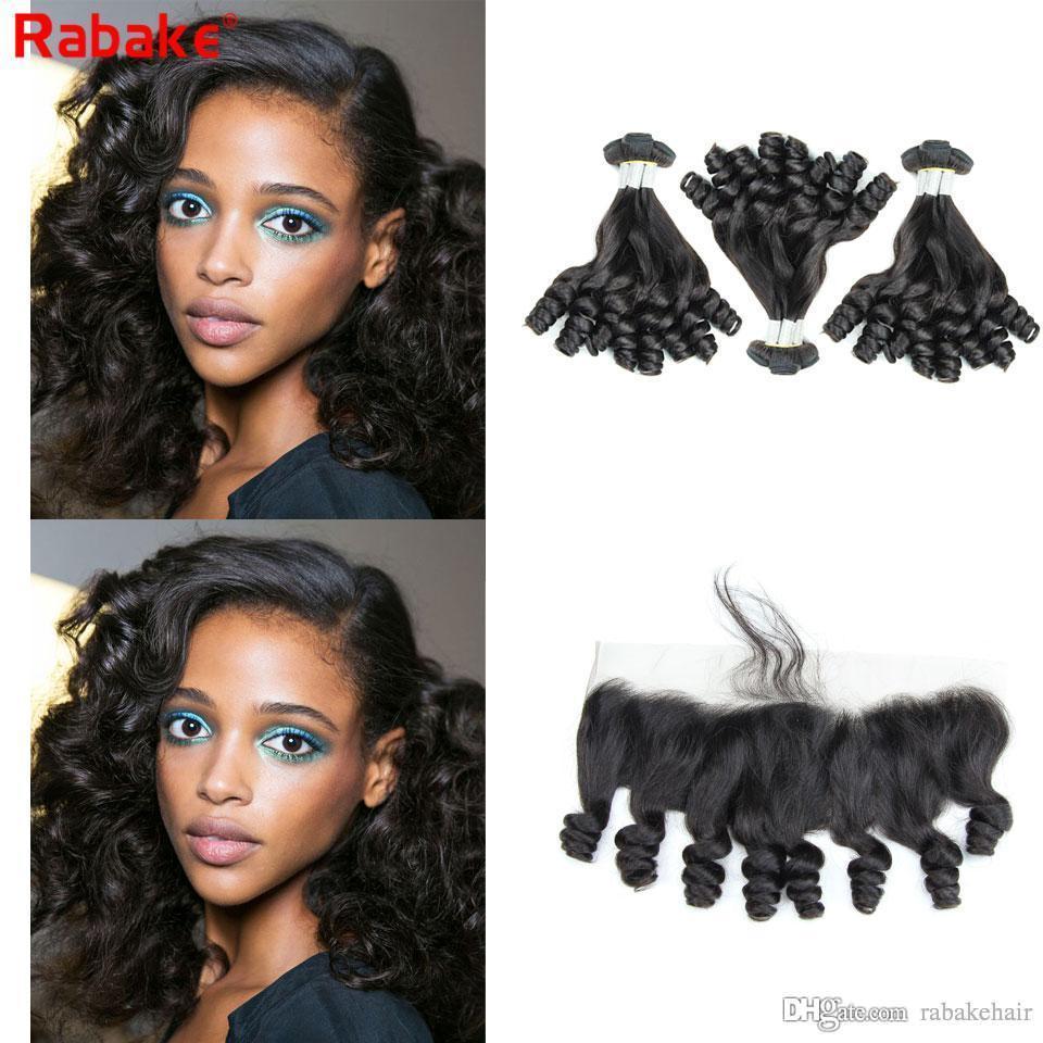 Brazilian Remy Funmi Bouncy Curls Human Hair Bundles with Frontal Rabake Peruvian Raw Indian Malaysian Aunty Funmi Curly Hair Romance Curls