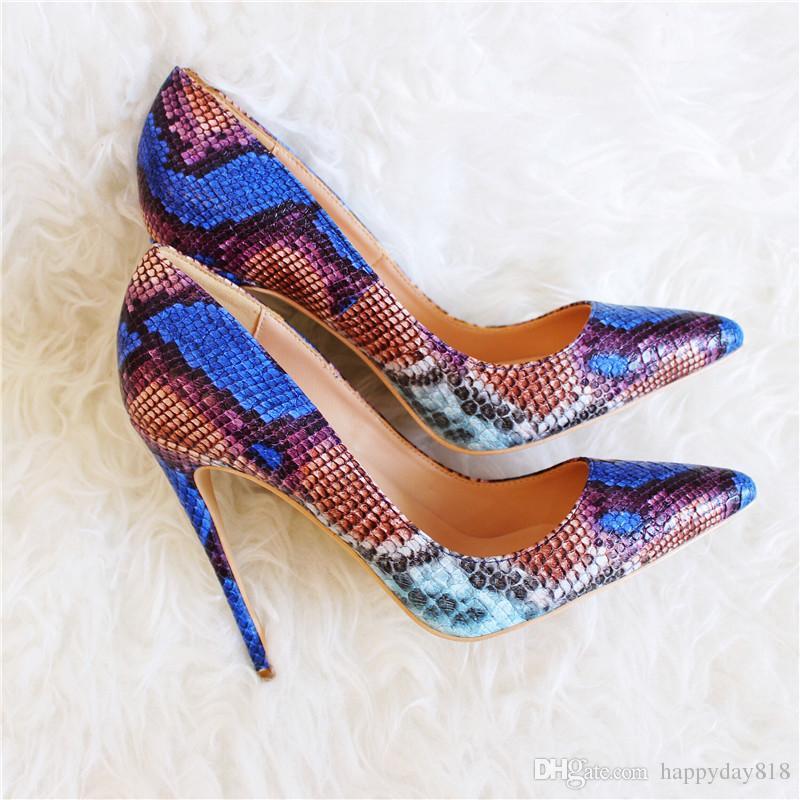 O envio gratuito de moda feminina bombas azul cobra python impresso dedo apontado sapatos de salto alto sandálias sapatos de casamento da noiva bombas de 120mm 100mm 80mm