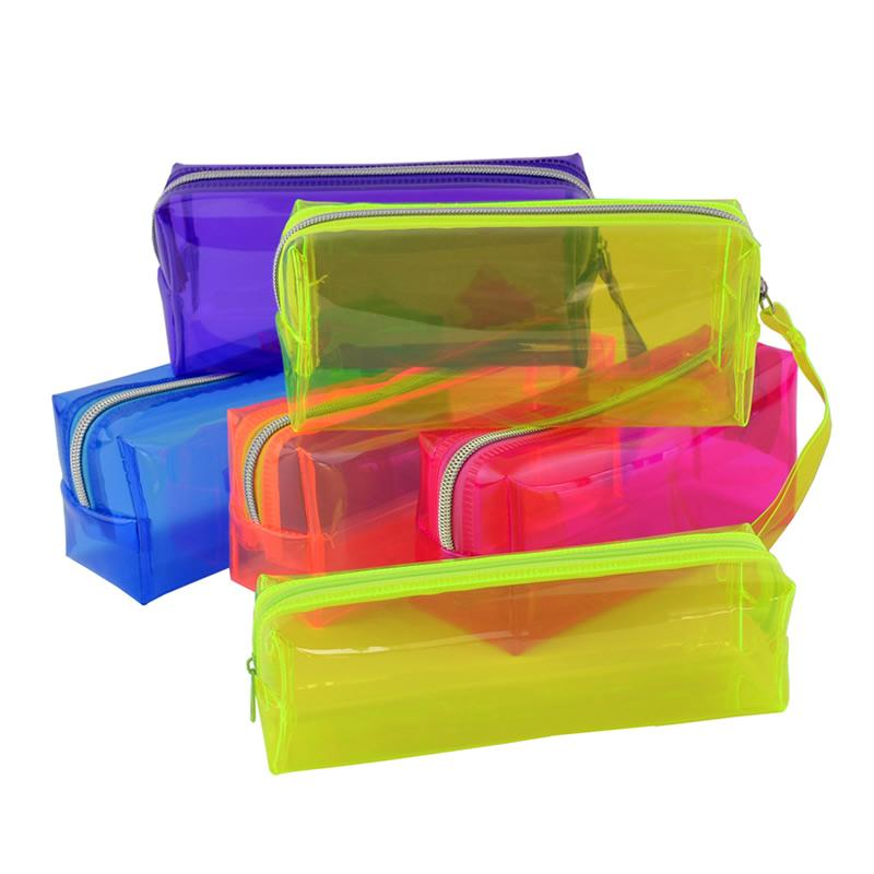 School Lovely Pencil Case Transparent Plastic Box Pen Bag Stationery Pouch AT