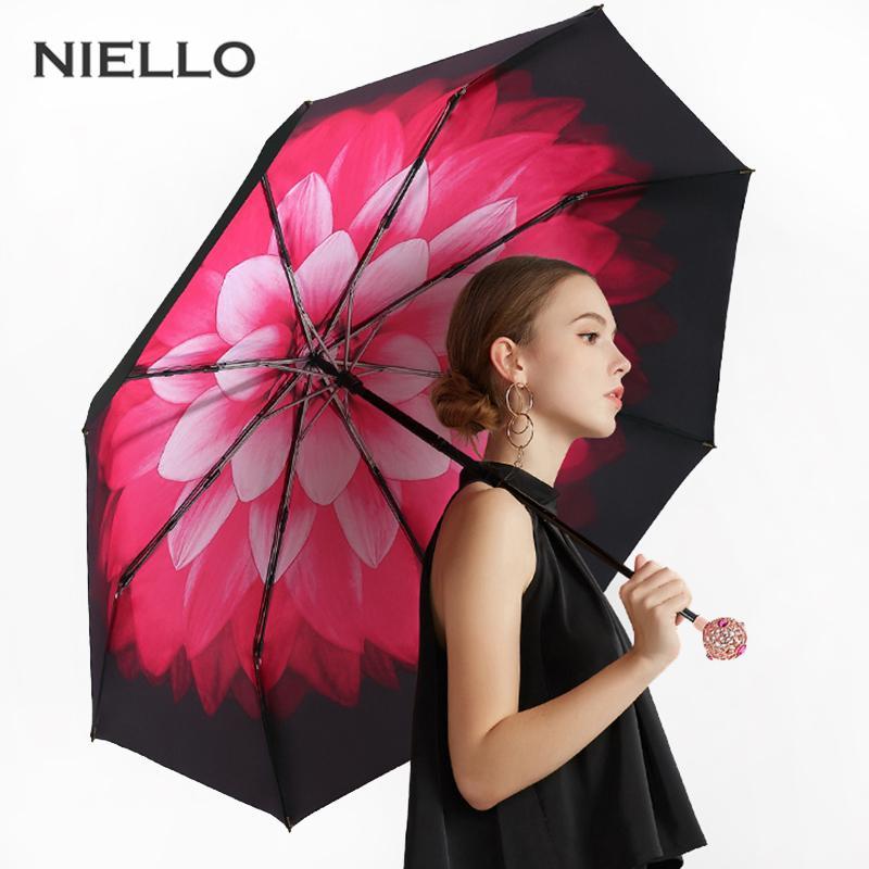 النيلو المرأة مظلات واقية من الشمس الأزياء مظلة للطي المطر النساء التعامل مع نمط زهرة قماش حريري غواردا Chuva شمسية
