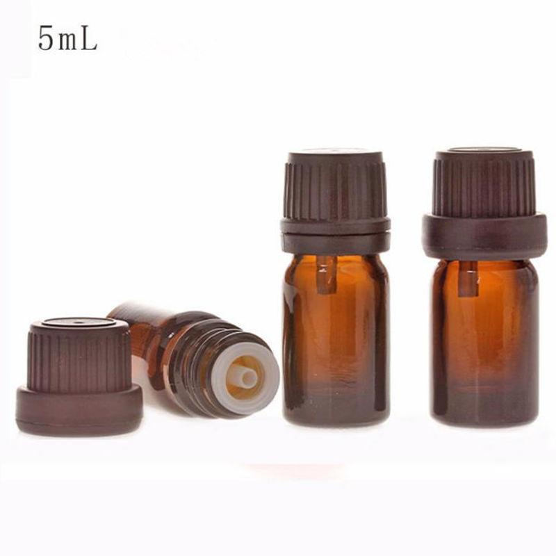 5 ml Cam şişeler uçucu yağ aromaterapi için siyah sabotaj belirgin kap kozmetik konteynerler F20172168