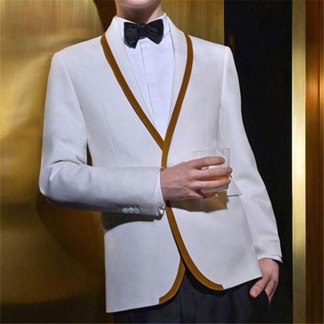 Or blanc Garniture Hommes Costumes Summer Style 2 Pièces Veste Pantalon Cravate Ternos Masculinos Slim Fit mariage