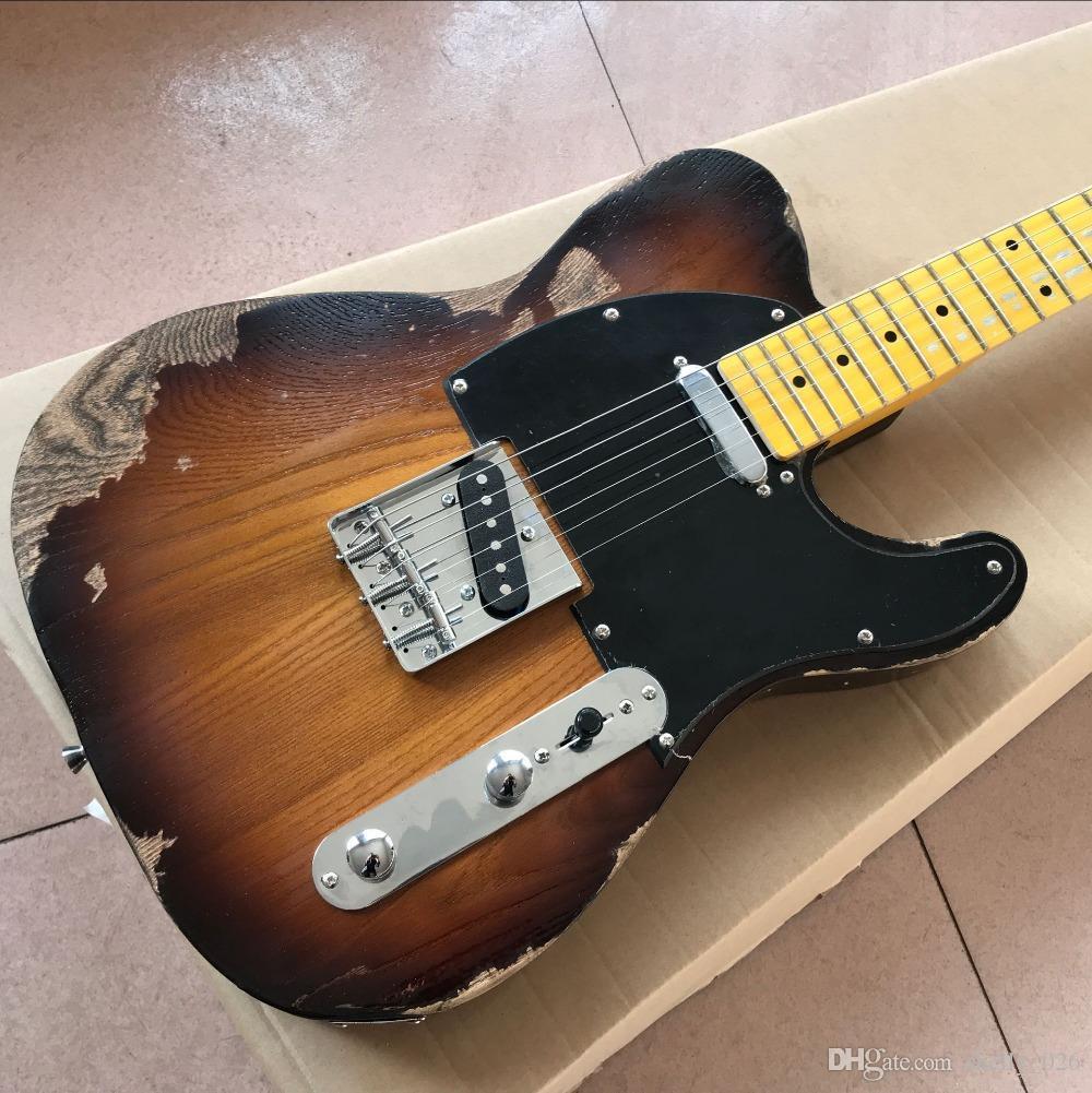 Free Shipping custom shop,TELE Maple fingerboard Electric Guitar,telecaster Sunburst guitaar relics by hands guitarra.real photos show guita