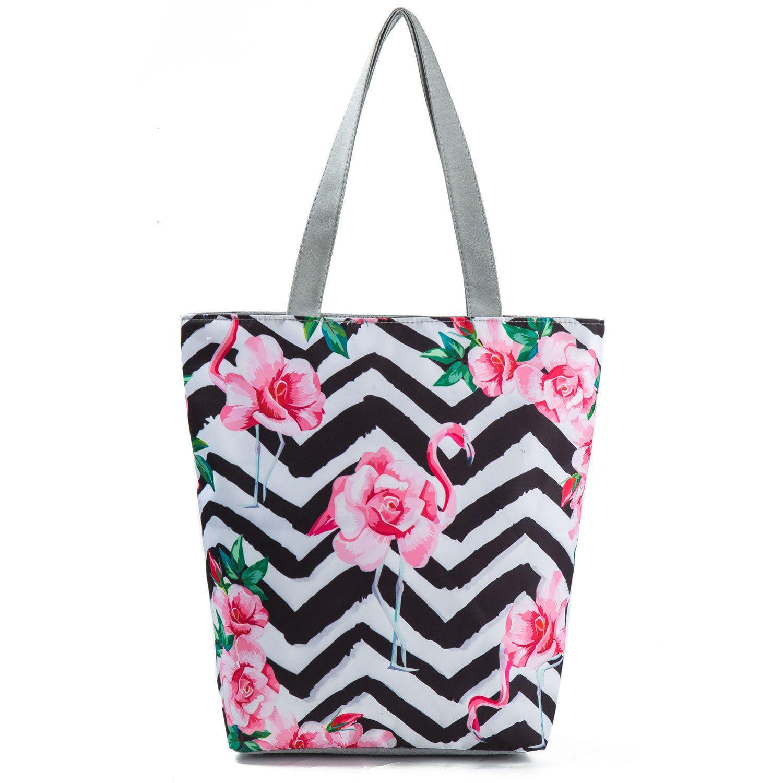 Striped Design Floral Printed Tote Handbag Female Canvas Beach Bag Lady Daily Use Casual Shoulder Bag Girls