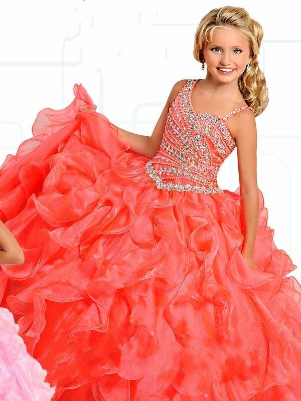 Vestidos de bolas de naranja Vestidos de concurso de niñas con correas Bling Cristales Ruffles Organza Primera comunión Vestido para niñas pequeñas fiesta de niños